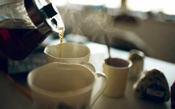 чая, чайник, чашки, steam, cup, lemon, сварка, баночка, spoon,