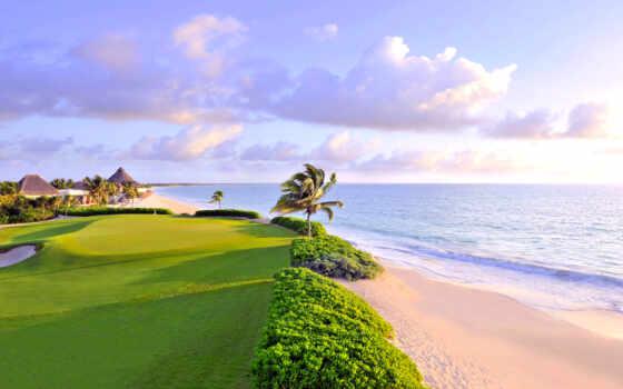 golf, classic, мексиканский, мая, riviera, club, море, пляж, tropic
