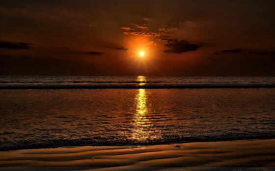 пляж, закат Фон № 15609 разрешение 1920x1200