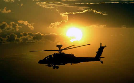 закат, вертолет