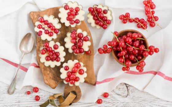 ягоды, смородина, красная, ложка, доска,