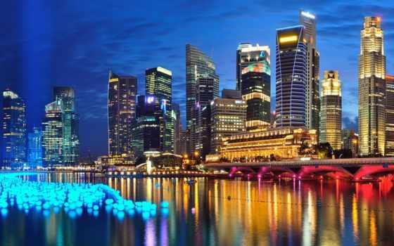 сингапур, река вечер