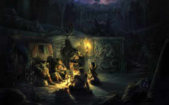 fantasy, огонь, art, ночь, привал, повозка, цветы, развалины, факел, природа,