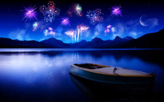 ночь, озеро, лодка, water, небо, луна, lakes, fireworks, отражение,