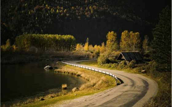река, природа, дорога, great, дек, along, country, reki, landscape,