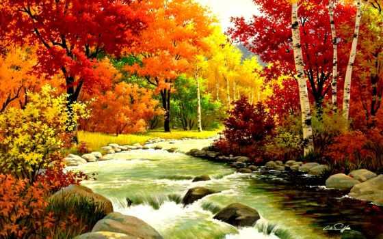осень, золотая, вышивки