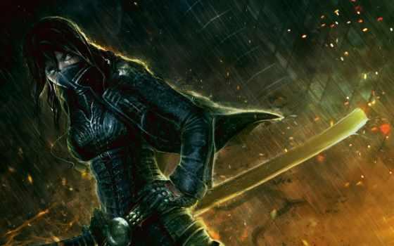 катана, art, women, девушка, маска, swords, дождь, воин, ночь,