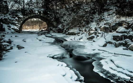 ручей, tapety, природа, winter, мост, сквозь, проходящий, top,