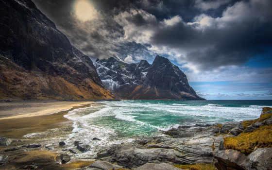 tropical, норвегии, oblaka, небо, побережье, закат, морское, страница, живопись, декор,