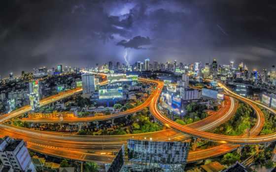 bangkok, thai, бангкока, города, мегаполис, ночь, небоскребы, картинку, ночные, дороги,