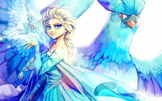 pokemon, elsa, девочки, анимэшки, яркие, articuno, frozen, са, dui,