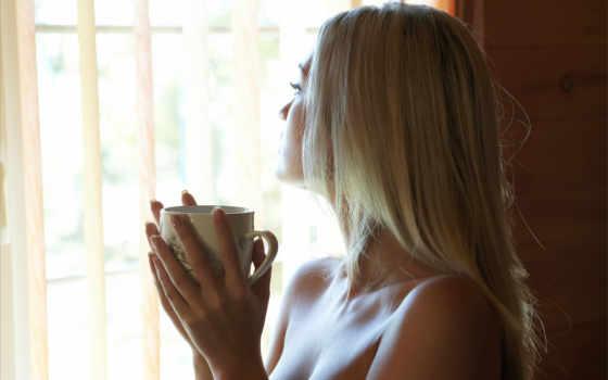 девушка, blonde, окно