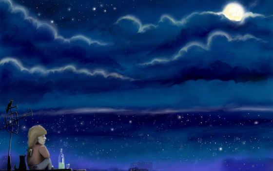грусть, рисунок, луна, крыши, картинка, карлсон, графика,