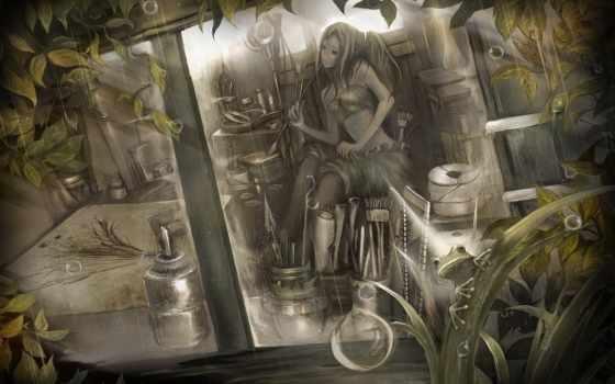 девушка, дождь, окно, kentarou, комната, artist, лягушка, art,