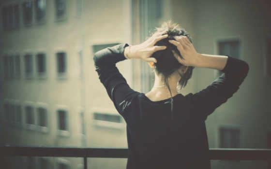 девушка, балкон, взгляд