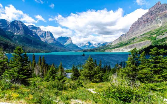 природа, горы, озеро, park, glacier, national, eli, санкт, мэри, бесплатные,