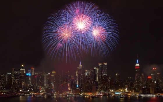 ночь, город, салют, new, york, fireworks, праздник, нью, здания,
