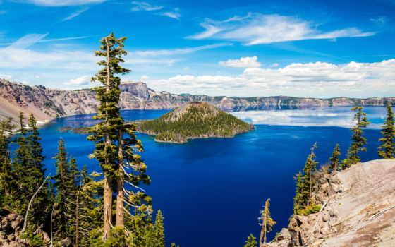 crater, озеро, national, park, oregon, остров,