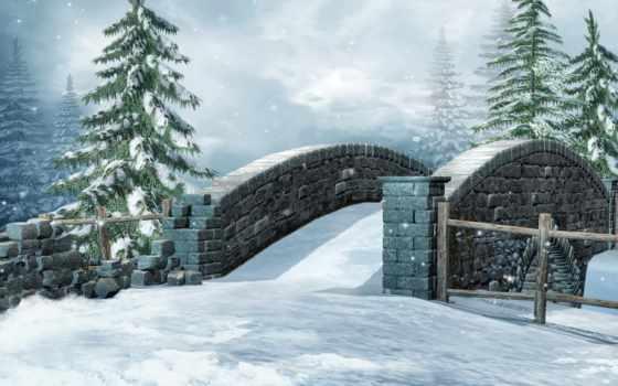del, invierno, nieve, naturaleza, imagen, puente, año, estaciones, gráficos,