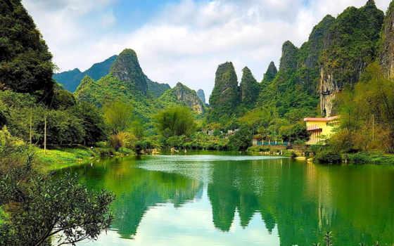 природа, горы, desktop, китаянка, oblaka, дек, trees,