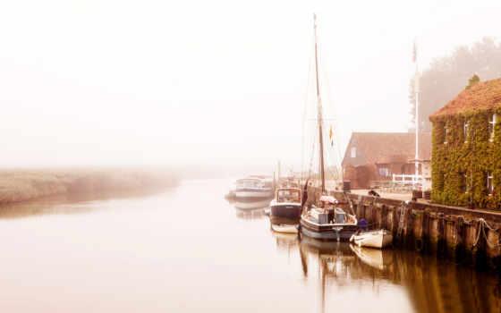 лодки, утро, туман, причал, река, дома, море, озеро,