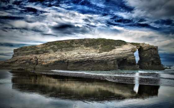 море, ultra, rock, небо, качественные, landscape, water, oblaka, большие,
