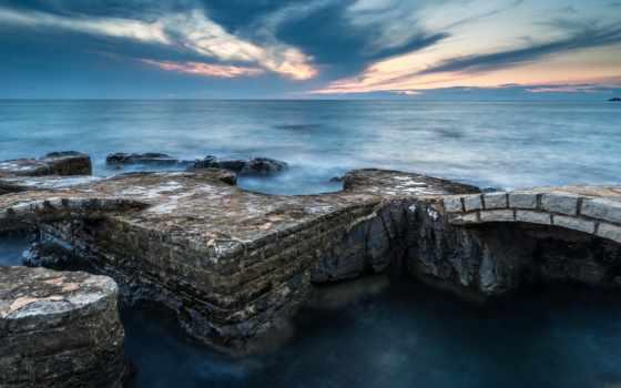 ocean, мост, скалы