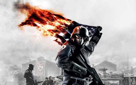 флаг, акпп, war, игры, истребитель, homefront, burning, солдат, игр, высоком,