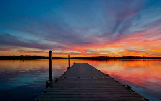 день, закат, scarlet, length, восход, photos, nc, bois, pont