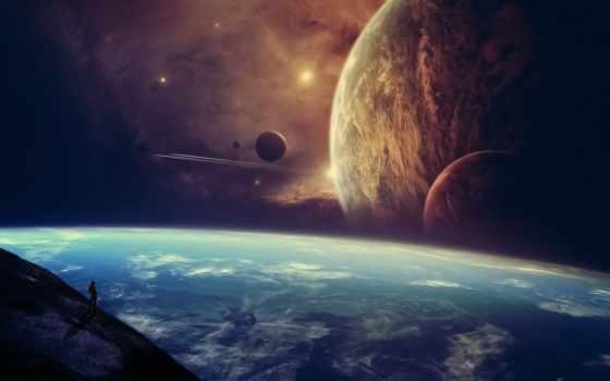 мужчина, космос, звезды