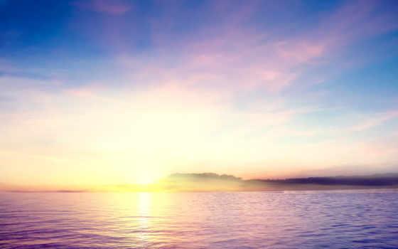 небо, views, озеро