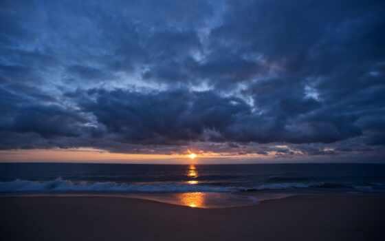 небо, закат, oblaka, море, берег, романтика, пляж,
