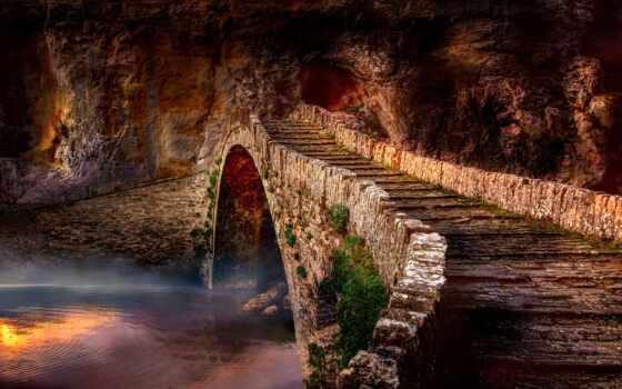 мост, landscape, туман, река, water, rock, камень, ages