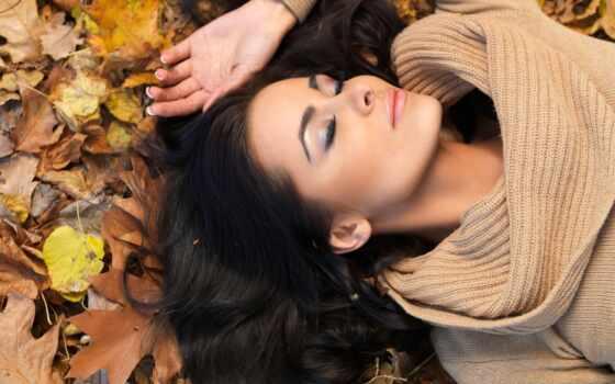 девушка, осень, brunette, лист, волосы, ryfma, взгляд, еще, narrow, красивый, природа