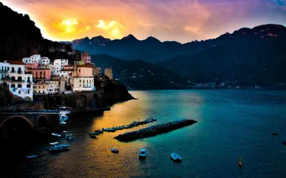 amalfi, италия, море, город, закат, города, картинок, мира, wallpaperları, manzara, doğa, tyrrhenum,