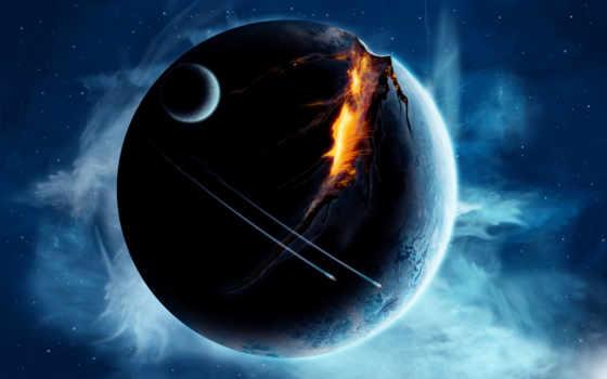 planeta, взорванная, вверх, взмывая, planet, планеты, вентиляция, разломившаяся,
