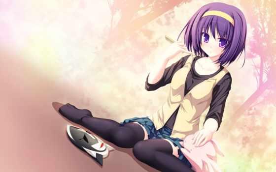 anime, волосы, фиолетовые