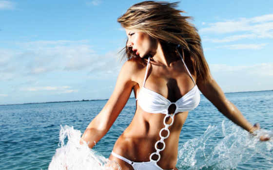 девушка, картинка, море