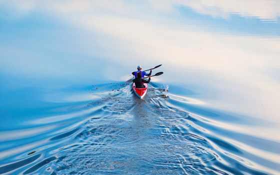 гребля, спорт, water, спортсмены, гребле, kayak, весла,