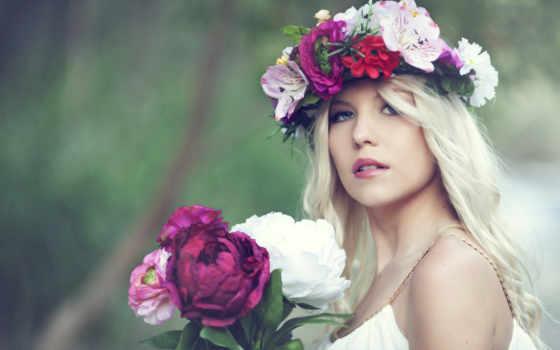 девушка, букет, голове, веночком, cvety, руках, пионы, devushki, держит, венок, фото,