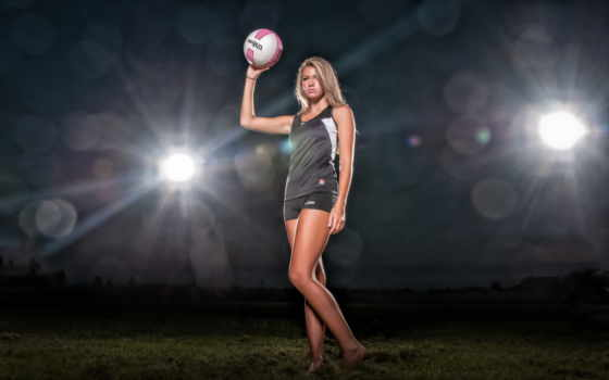 девушка, мяч, спортивная, сетка, картинка, стоит, волейбол, поле,