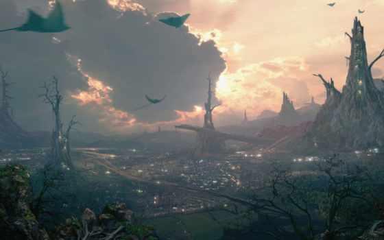 fantasy, art, фэнтези, город, даниэль, kvasznicza, долина, красивые,