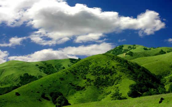 hill, зелёный, гора, небо, облако, объект, love, natural