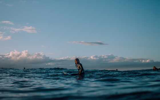 surf, сёрфинг, sit, surfer, surfboard, лицо, во, женщина, morocco, school, ocean