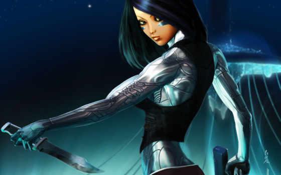 art, fantasy, girl, роботы, cyborg, knife, robot, warrior, sci, weapon, gun,