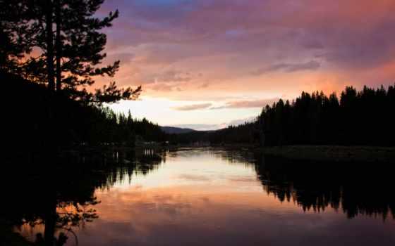 landscape, вечер, река