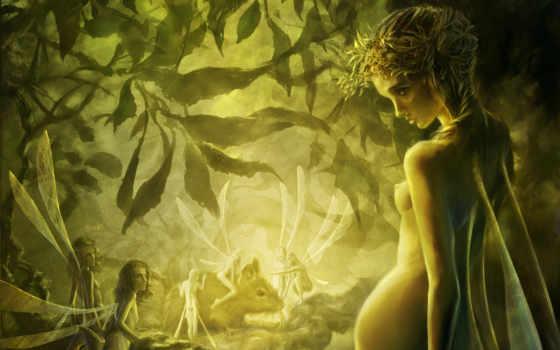fei, art, крылья, лес, devushki, листья, деревя, cyrilbarreaux,