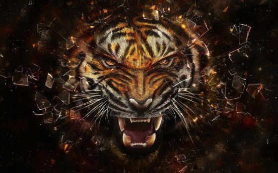 ipad, фон, тигр