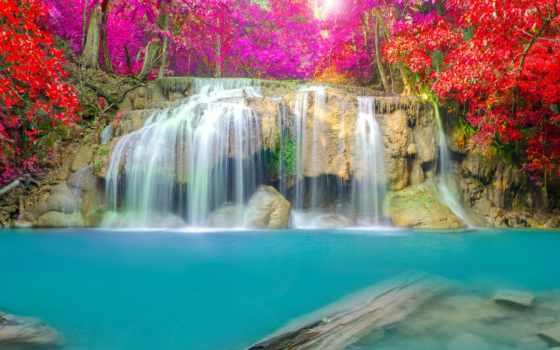 водопад, фотообои, водопады, thai, online, осень, puzzle, эраван, заказать, природа,