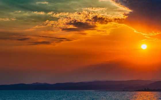 sun, небо, горы